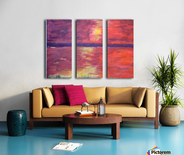 Red Abstract Sunset Split Canvas print
