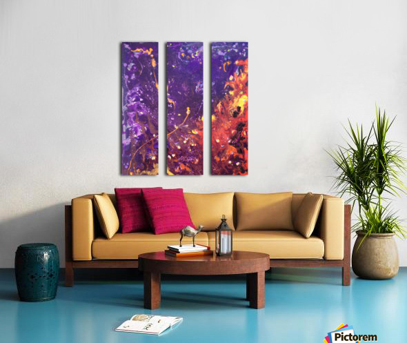 The Flow Purple and Orange Abstract Split Canvas print