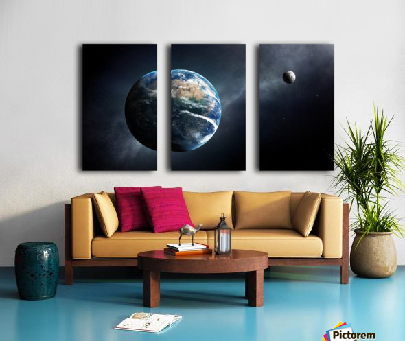 Earth and moon space view Split Canvas print