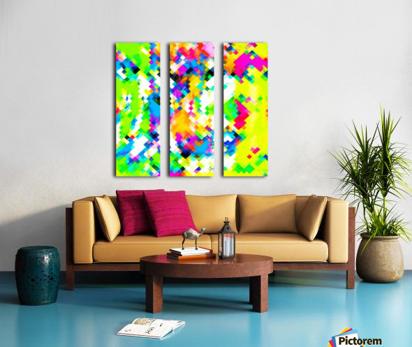 psychedelic geometric pixel abstract pattern in yellow blue green pink Split Canvas print