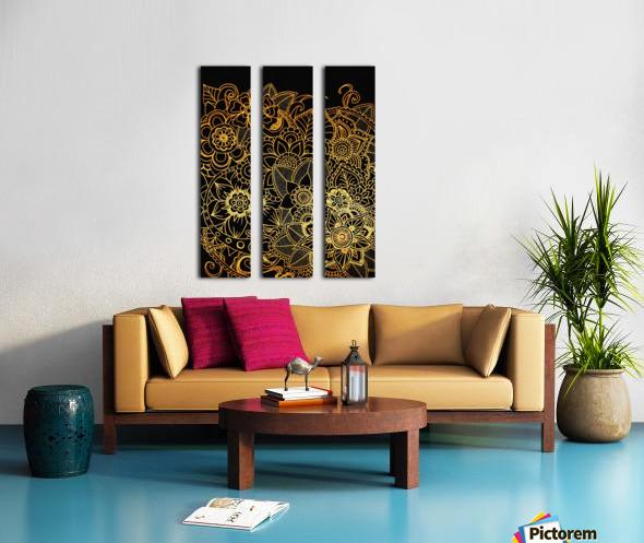 Floral Doodle Gold G523 Split Canvas print