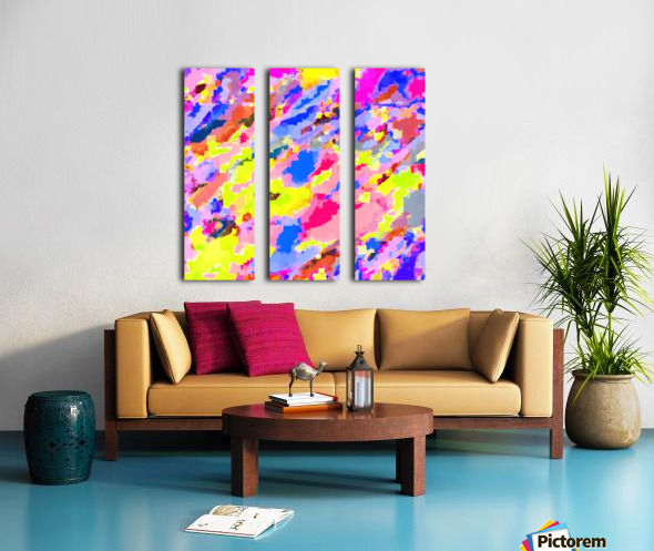 psychedelic geometric square pixel pattern abstract in pink yellow blue Split Canvas print