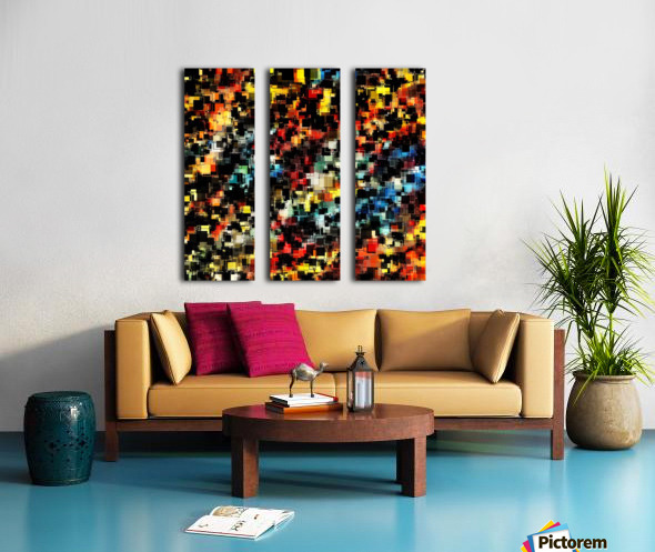 psychedelic geometric pixel square pattern abstract background in red orange blue yellow black Split Canvas print