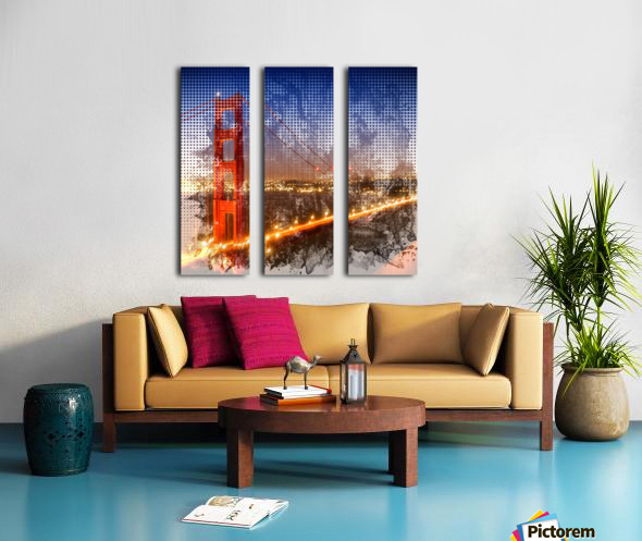 Graphic Art Golden Gate Bridge   watercolour style Split Canvas print