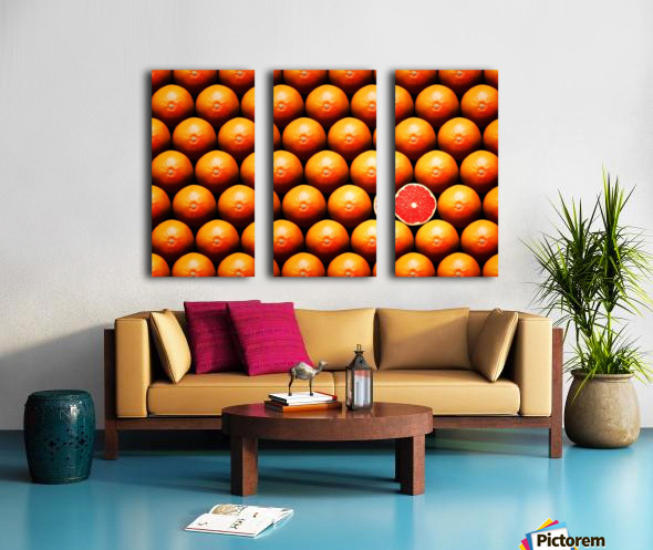 Grapefruit slice between group Split Canvas print