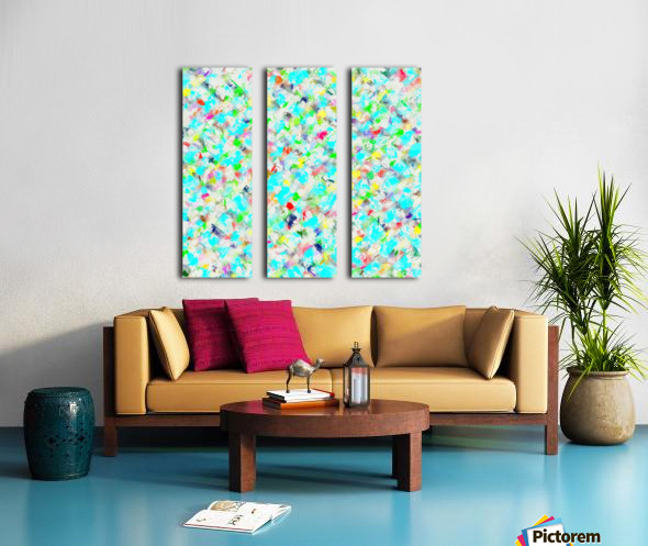 splash painting texture abstract background in blue yellow green red pink Split Canvas print