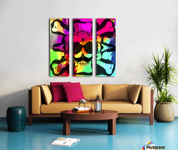 old vintage funny skull art portrait with painting abstract background in red purple yellow green Split Canvas print