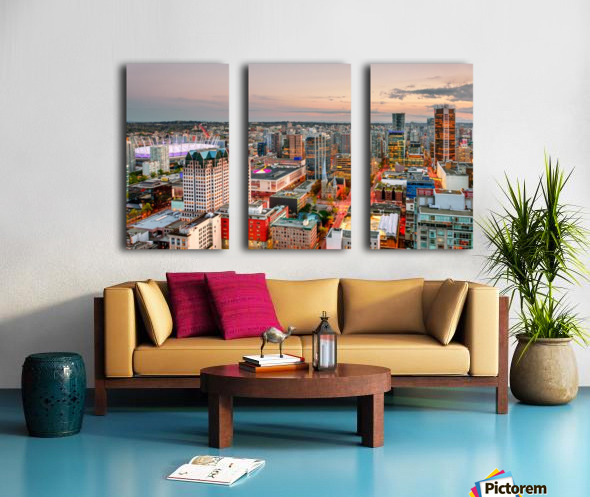 View from above the beautiful twilight in megalopolis Split Canvas print