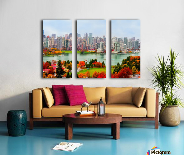 colorful autumn landscape of a modern city by the river Split Canvas print