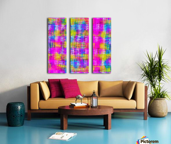 plaid pattern painting texture abstract background in pink purple blue yellow Split Canvas print