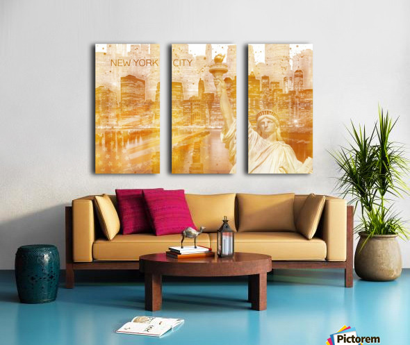Graphic Art MANHATTAN Collage | golden Toile Multi-Panneaux