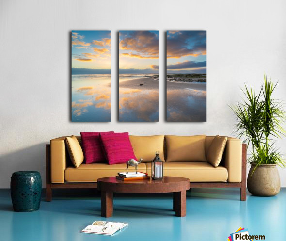Beach sunrise reflected on the wet sand Split Canvas print