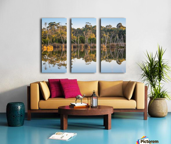 Evening river bank with glassy reflection Split Canvas print