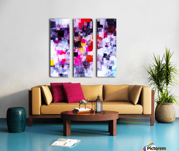 vintage psychedelic geometric square pixel pattern abstract in pink red blue purple Split Canvas print