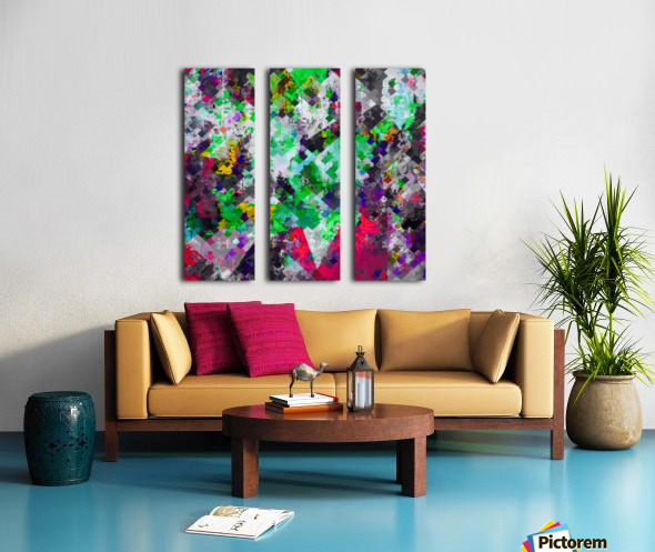 vintage psychedelic geometric square pixel pattern abstract in green red purple yellow Split Canvas print