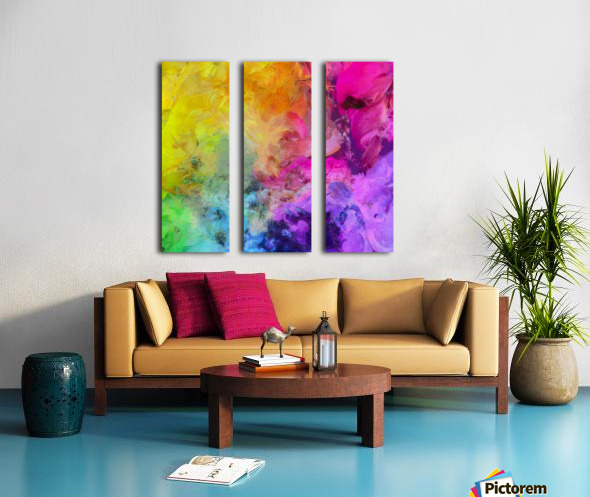 Bright Colorful Abstract Painting Split Canvas print