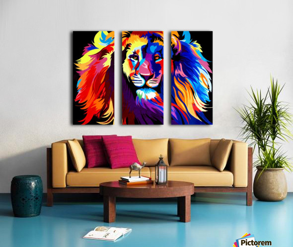 Lion Rainbow Split Canvas print