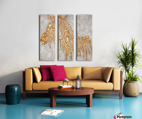 Gold Zebra Split Canvas print