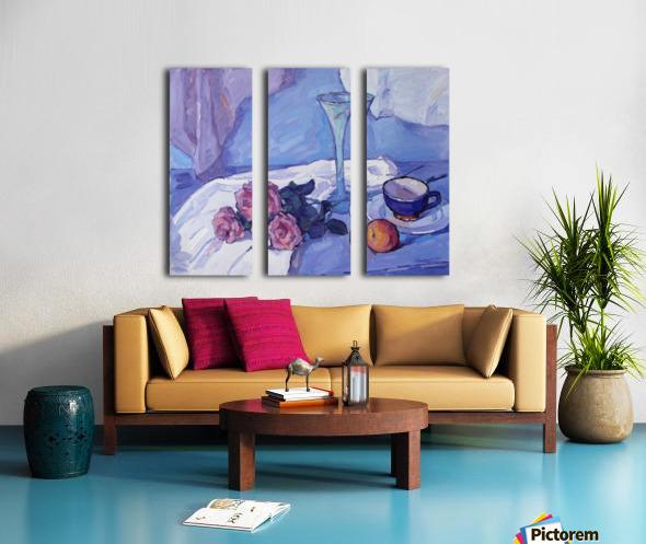 Still Life with Purple Roses Split Canvas print