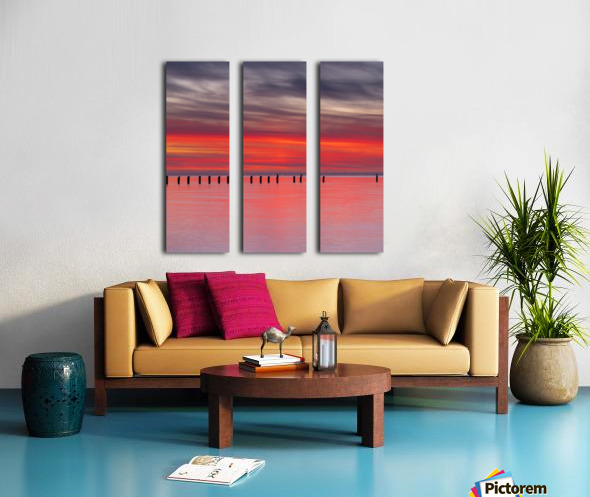 Pink Sunset over Water Split Canvas print
