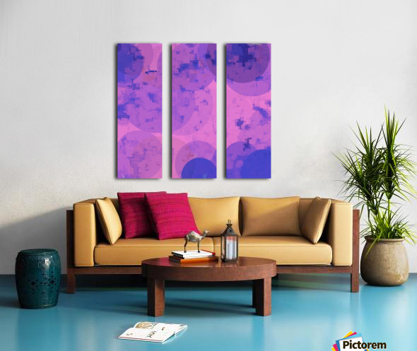 geometric circle and square pattern abstract in pink purple Split Canvas print