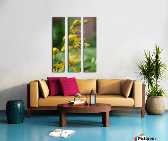 Yellow flowers stem Split Canvas print