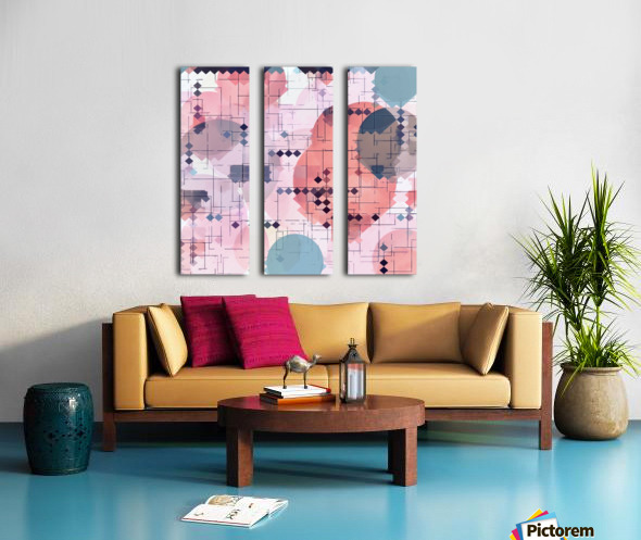 geometric square pixel pattern abstract with circle pattern background in red pink blue Split Canvas print