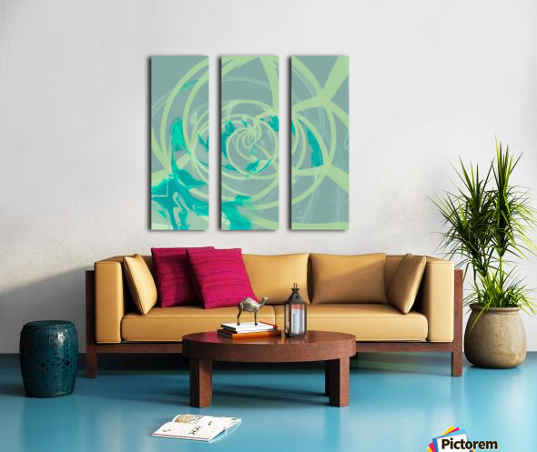 spiral line pattern painting texture abstract in blue green Split Canvas print