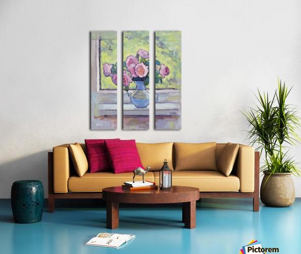 Tea Roses Bouquet on the Windowsill Split Canvas print