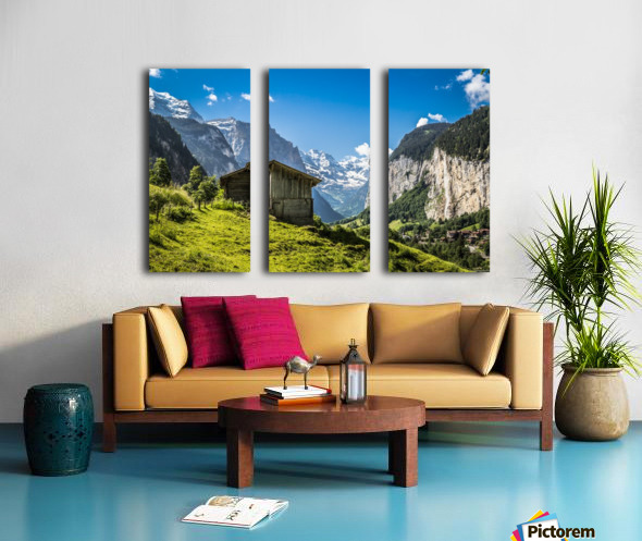 Hut in the valley Split Canvas print