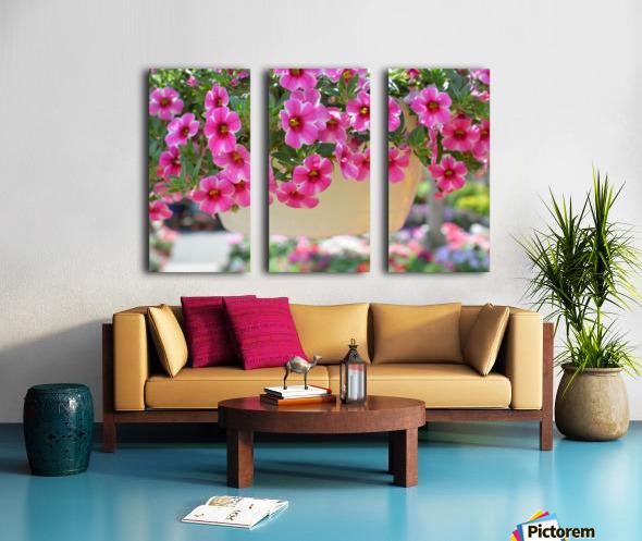 Beautiful Pink Flowers Photograph Split Canvas print