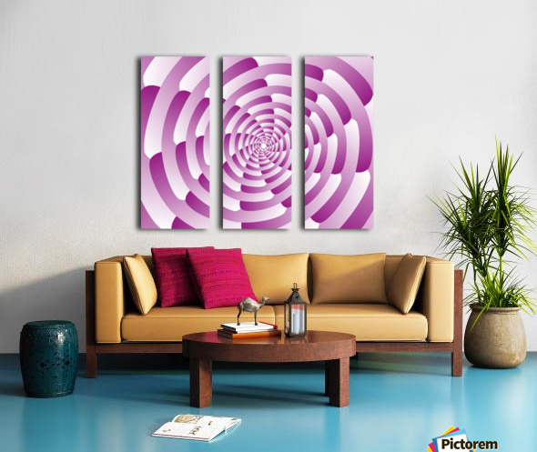 Abstract Pink Spiral Art  Split Canvas print