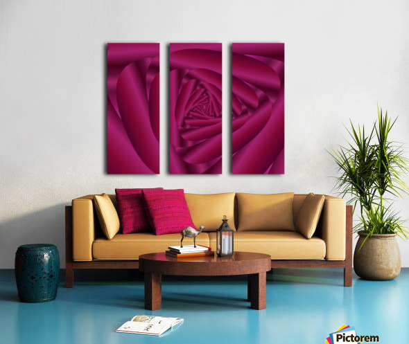 Pink Color Rose Swirl Art Split Canvas print