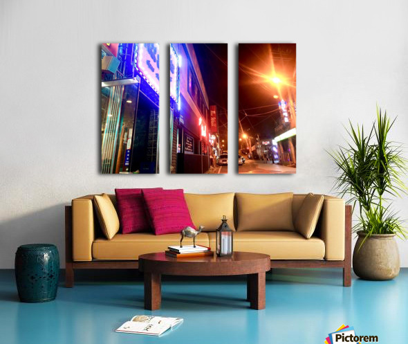 Korean Street at Night Split Canvas print