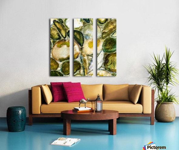 Green Stones in a Cut Split Canvas print