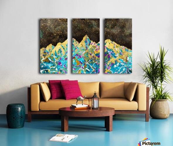Gold Turquoise Mountain - Illustration I Split Canvas print