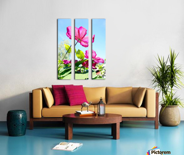 Pink flower and green leaves Split Canvas print