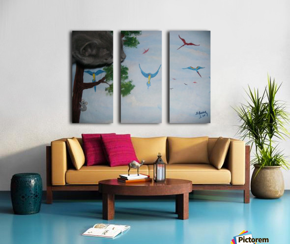 Real Kitty Hunting The Macaws Split Canvas print