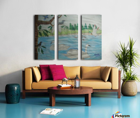 Swan Pond Split Canvas print