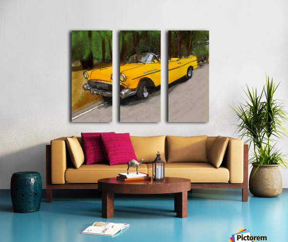Cuba Yellow Car Split Canvas print