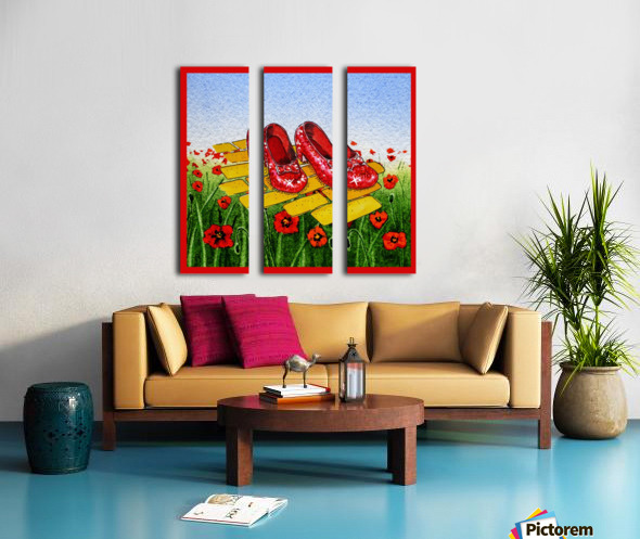 Ruby Slippers Yellow Brick Road Red Poppies Field Split Canvas print