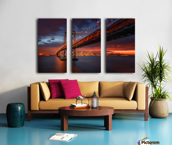 Fire over San Francisco Split Canvas print