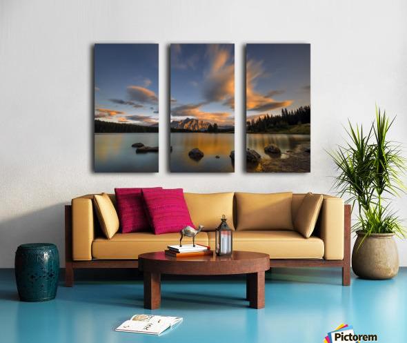 Two Jack Lake Sunset Split Canvas print