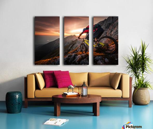 Golden hour high alpine ride Split Canvas print