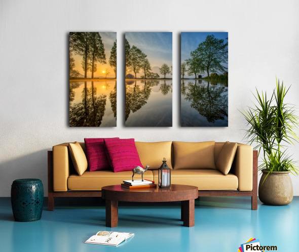 Mount Fuji reflected in Lake , Japan Split Canvas print