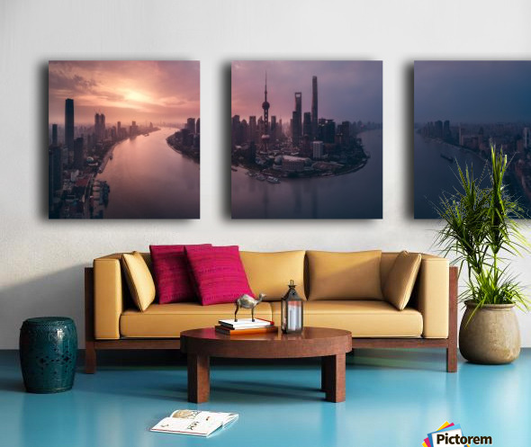 Flying Shanghai Split Canvas print