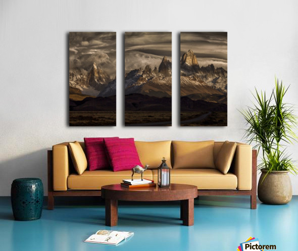 Striped sky over the Patagonia spikes Split Canvas print