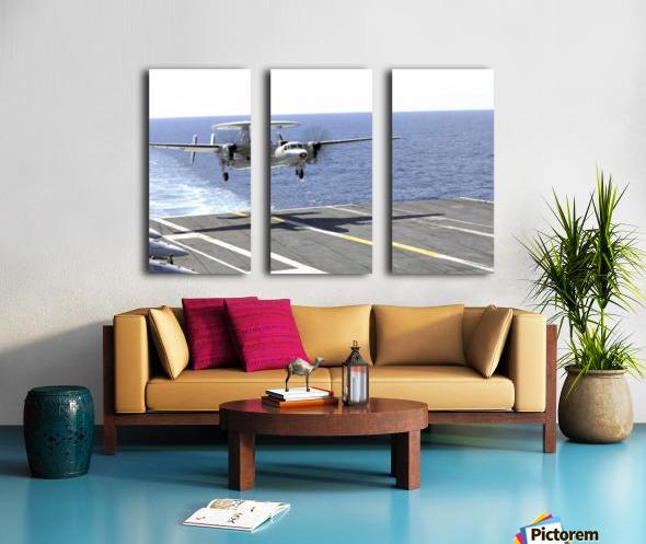 An E-2C Hawkeye makes its approach to the flight deck of USS Dwight D. Eisenhower. Split Canvas print
