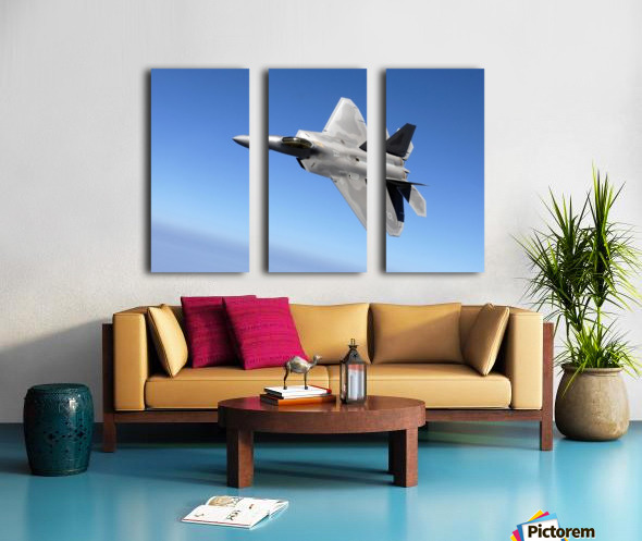 An F-A-22 Raptor banks during a training sortie. Split Canvas print