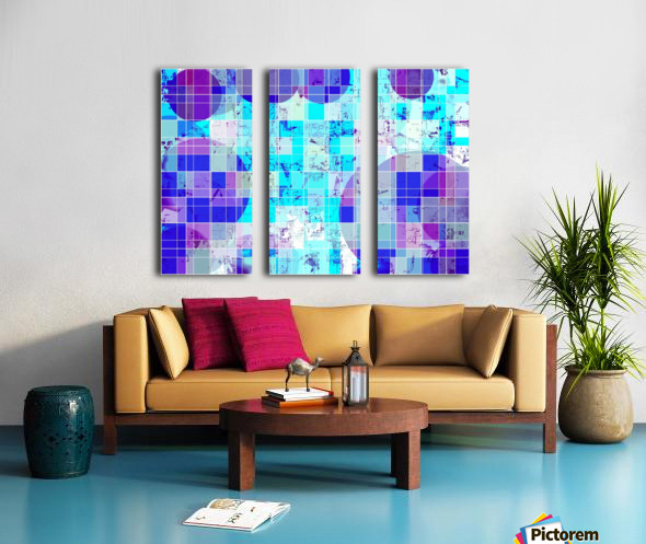geometric square and circle pattern abstract in blue Split Canvas print
